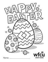 Colouring Sheet Two Happy Easter with WFCU egg